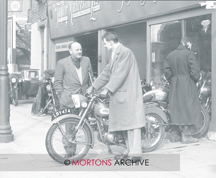 CLASSIC CAMERA   Classic Camera - Collection time, March 1954this young man is taking delivery of a BSA Bantam D1 De Luxe (or perhaps a early D3.)   Keywords: Mar 11, Mortons Archive, Mortons Media Group, The Classic MotorCycle